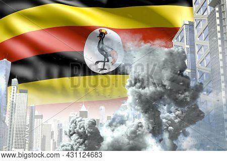 Large Smoke Pillar In The Modern City - Concept Of Industrial Explosion Or Terrorist Act On Uganda F