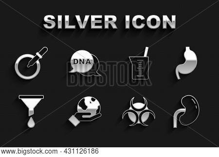Set Hand Holding Earth Globe, Human Stomach, Kidney, Biohazard Symbol, Funnel Or Filter, Laboratory