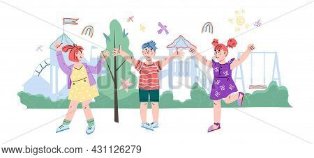 Happy Cheerful Smiling Kids On Summer Playground, Cartoon Flat Vector Illustration Isolated On White