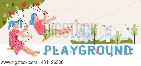 Children Playground Banner Or Flyer Template With Little Girls Swinging On Swing. Kids Playground An