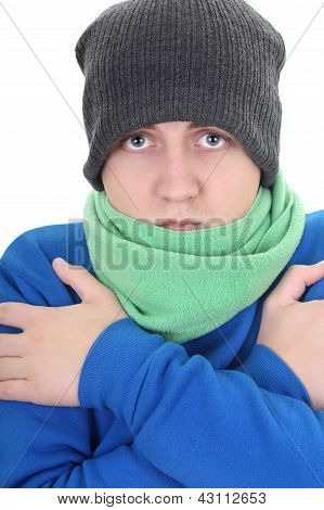 Young Man In Blue Sweater And Green Scarf