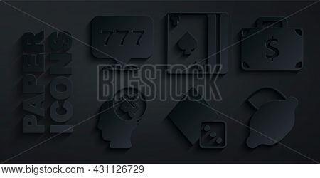 Set Game Dice, Briefcase And Money, Casino Slot Machine With Clover, Lemon, Deck Of Playing Cards An