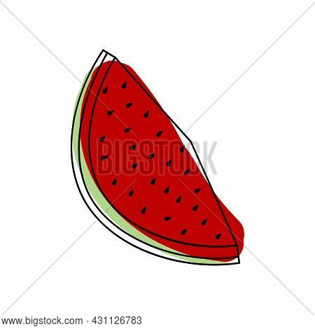 Vector Watermelon Icon For Your Projects. Natural Linear Fruit. Logo Of Linear Fruit With Spots.