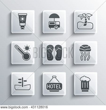 Set Signboard With Text Hotel, Wooden Beer Mug, Jellyfish, Flip Flops, Road Traffic Sign, Meteorolog