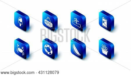 Set Signboard With Text Hotel, Road Traffic Sign, Soda Can, Ice Bucket, Watermelon, Rubber Swimming