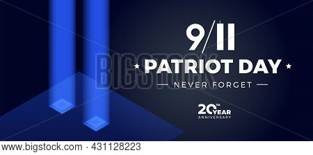 9 11 Patriot Day Memorial 20th Anniversary Banner - Vector Illustration With 911 Twin Towers In Blue