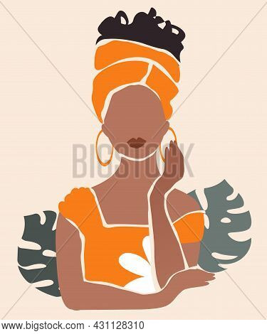 Abstract Woman Portrait. Faceless Black African Girl In Orange Turban Against Background Of Monstera