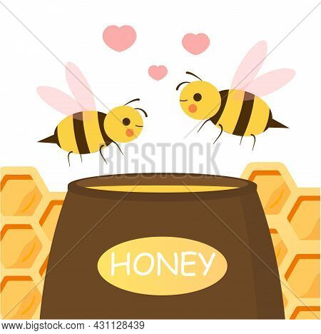 Cute Couple Bee. Valentines Day Background. Small Insects Surrounded By Hearts Fly To Jar Of Sweet H