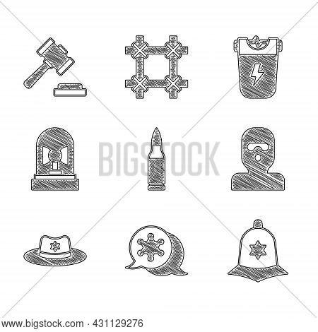 Set Bullet, Hexagram Sheriff, British Police Helmet, Thief Mask, Sheriff Hat With Badge, Flasher Sir