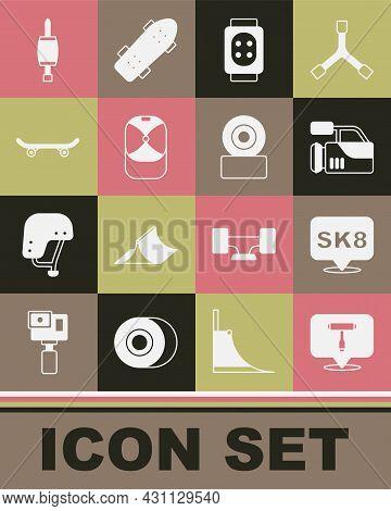 Set Skateboard T Tool, Cinema Camera, Knee Pads, Baseball Cap, Screwdriver And Wheel Icon. Vector