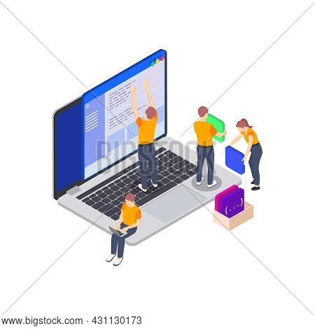 Programming Coding Development Isometric Icons Composition With Image Of Laptop And Characters Of Pr