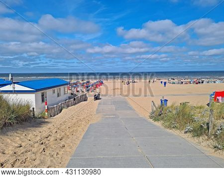 The beach from Katwijk aan Zee in the Netherlands on a beautiful summer day