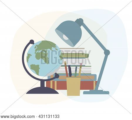 Back To School. Globe, Books, Lump, Pens And Pencils. Education Concept. Vector Illustration