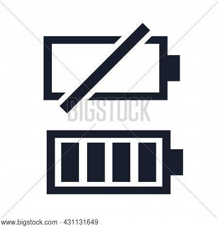 Low And Full Battery Black Icon Set. Power Battery, Accumulator Symbol. Awareness Symbols For Digita