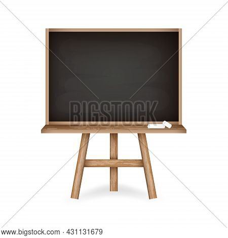 Rubbed Out Chalkboard With Clean Black Space. Realistic Black Chalkboard With Wooden Frame Holder An