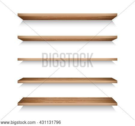 Realistic Bookshelves For Online Store Advertising. 3d Textured Wooden Racks Set. Grocery Racks Vect