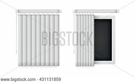 Closed And Open Vertical Window Blinds. Realistic Office Louvers, Front View. Vector Jalousie Mockup