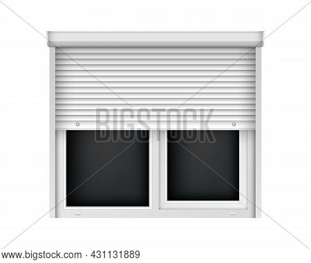 Double Plastic Window With Half Open Blind. Realistic White Roller Shutter For Glass Window. Large C