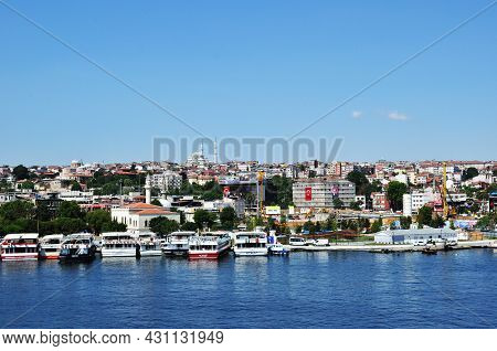 Panorama Of Istanbul. View Of The Strait, Mosque And Ships At The Pier. 09 July 2021, Istanbul, Turk