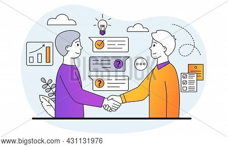 Partnership And Collaboration Concept. Businessmen Shake Hands And Agree On Cooperation. Effective T
