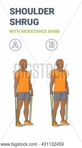 Black Guy Doing Shoulder Shrugs Home Workout Exercise With Thin Resistance Band Or Loop Guidance.