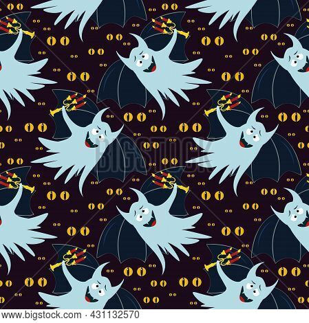 Vector Pattern With A Funny Ghost With Bat Wings And A Candelabra In His Hand On A Dark Background W