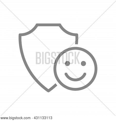 Protective Shield With Happy Face Line Icon. Protection, Review, Positive Assessment Of Protection S