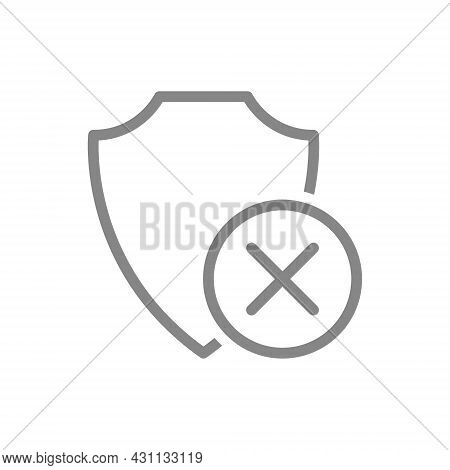 Protective Shield With Cross Mark Line Icon. Dissatisfaction, Negative Assessment Protection System