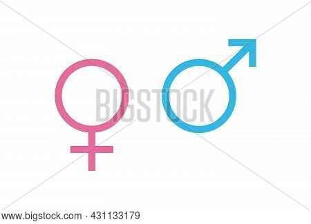 Blue Male And Pink Female Sign. Circle With An Arrow And Cross Down. Belonging To The Masculine Or F