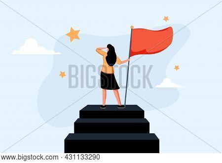 Success Female Entrepreneur, Woman Leadership Or Challenge And Achievement Concept, Success Business