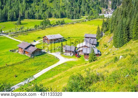 Idyllic Farm House And Green Meadow Pasture In Alpine Valley, Hohe Tauern, Austrian Alps