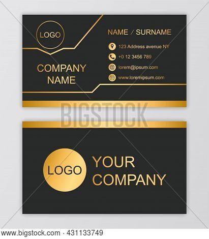 Elegant Business Card. Element Of Corporate Identity . Black Background, Gold Inscriptions And Lines