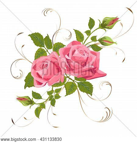 Delicate Bouquet Of Roses With Decor.colored Vector Illustration With A Bouquet Of Roses And Decor O
