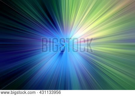 Abstract Radial Zoom Blur Surface   In  Blue And Green Tones. Bright Glowing Blue Green Background W