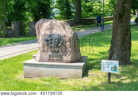 Cieszyn, Poland - June 5, 2021: Jan Kubisz Memorial At Castle Hill Park In Cieszyn. Jan Kubisz (1848