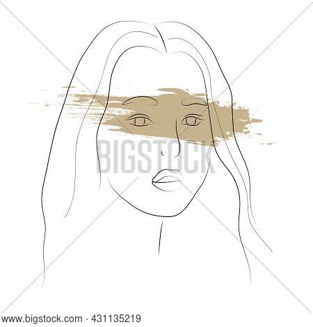 Portrait Of A Beautiful Young Sad Asian Woman. Modern Line Art With Grunge Stain Om White. Vector Il