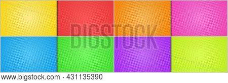 Halftone Dots Background Set. Multicolor Backgrounds. Cartoon Pop Art Style Blank Layout. Template D