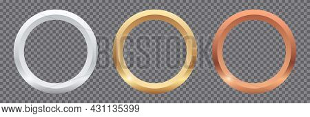 Golden, Silver, Bronze Round Frames Isolated On Transparent Background. Metal Shiny Glowing Frame Se