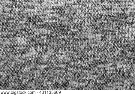 Knitted Fabric Background. Ornament. Close-up Knitted Wool Texture Gray, Blue