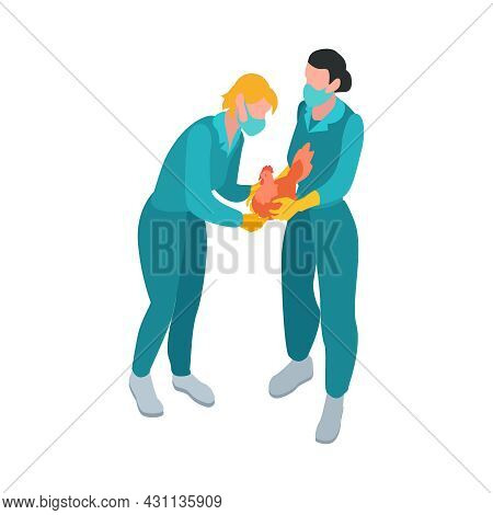 Isometric Infectious Disease Doctor Scientist Virologist Composition With Physicians In Masks Carryi