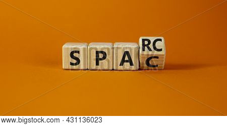 Sparc, Special Purpose Acquisition Rights Company Symbol. Cubes With Words 'sparc, Spac' On Orange B