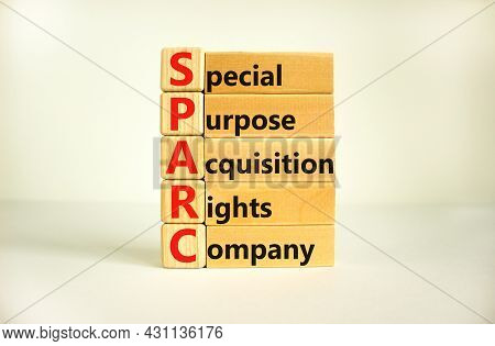 Sparc, Special Purpose Acquisition Rights Company Symbol. Cubes With Words 'sparc' On Beautiful Whit