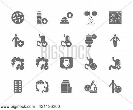 Set Of Probiotic Grey Icons. Lactobacilli, Bifidobacteria, Vitamins And More.