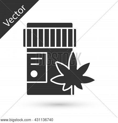 Grey Medical Bottle With Marijuana Or Cannabis Leaf Icon Isolated On White Background. Mock Up Of Ca