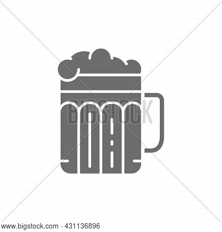 Pint Of Beer, Alcohol, Glass With Drink Grey Icon.