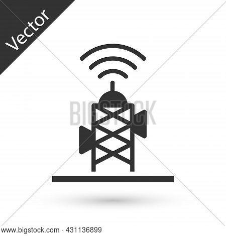 Grey Wireless Antenna Icon Isolated On White Background. Technology And Network Signal Radio Antenna
