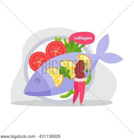 Healthy And Super Food Flat Icons Composition With Woman Putting Lemon Slices On Fish With Tomatoes