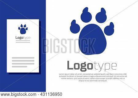 Blue Paw Print Icon Isolated On White Background. Dog Or Cat Paw Print. Animal Track. Logo Design Te