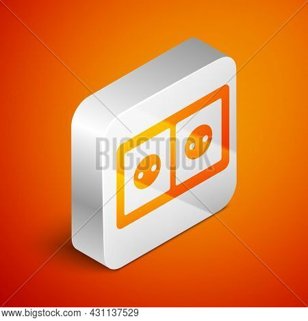 Isometric Electrical Outlet Icon Isolated On Orange Background. Power Socket. Rosette Symbol. Silver