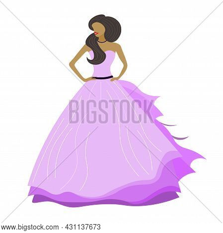 Beautiful Girl, Lady, Brunette, Cute Princess In A Light Purple Fluffy Floor-length Dress. Girl With